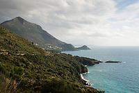 View towards Marina di Maratea and Torre Caina, on the coastal road of Maratea Basilicata, Italy