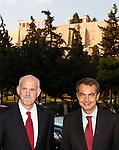 Nov 25, 2009 - Athens, Greece - Greek Prime Minister George Papandreou(L) meet with Spanish Prime Minister Jose Luis Rodriguez Zapatero(R) at Acropolis Museum. Credit Aristidis Vafeiadakis/ZUMA Press