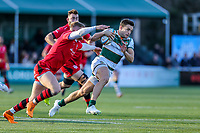 Seb STEGMANN of Ealing Trailfinders (right) evades the tackle Match action during the Greene King IPA Championship match between Ealing Trailfinders and Jersey Reds at Castle Bar , West Ealing , England  on 22 December 2018. Photo by David Horn.