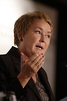 August 28, 2012 - Montreal (Qc) CANADA -  Parti Quebecois Leader Pauline Marois adress the Montreal Board of Trade in the final week of the Quebec Provincial Electoral Campaign. The election will be held September 4, 2012.