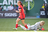 Portland, Oregon - Sunday September 4, 2016: Portland Thorns FC midfielder Meleana Shim (6) and Boston Breakers goalkeeper Libby Stout (1) during a regular season National Women's Soccer League (NWSL) match at Providence Park.
