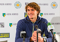 Rotterdam, Netherlands, 11 februari, 2018, Ahoy, Tennis, ABNAMROWTT, Pressconference with Alexander Zverev (DUI)<br /> Photo: Henk Koster/tennisimages.com