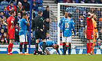 David Bates down after a clash with Muirhead