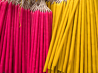 Colorful Candles stacked like Candy outside a Church in Manila, Philippines