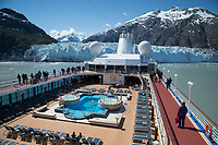 Visitors aboard the Pacific Princess Cruise ship view Margerie Glacier and Fairweather Mountains while in Tarr Inlet in Glacier Bay National Park in Southeast, Alaska    No Model Releases<br /> <br /> (C) Jeff Schultz/SchultzPhoto.com