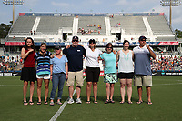 Cary, North Carolina  - Saturday April 29, 2017: Players and staff from the 2001-2003 WUSA Carolina Courage were honored at halftime of a regular season National Women's Soccer League (NWSL) match between the North Carolina Courage and the Orlando Pride at Sahlen's Stadium at WakeMed Soccer Park. Honorees included Carla Overbeck, Kim Montgomery, Susan Ellis, Cody Malley, Kristi Ogelsby, Heather Kashner, Kirbie Dockery, Lynne Adkins, and Brad Myers.