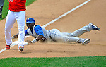 22 June 2008: Texas Rangers' left fielder Brandon Boggs slides safely into third on a wild pitch in the 8th inning against the Washington Nationals at Nationals Park in Washington, DC. The Rangers defeated the Nationals 5-3 in the final game of their 3-game inter-league series...Mandatory Photo Credit: Ed Wolfstein Photo
