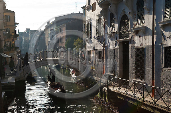 Dorsoduro-Venice-Italy - December 31, 2010 -- Canal, bridge and gondola -- tourism, water, infrastructure -- Photo: Horst Wagner / eup-images