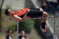 Apr 11, 2015; Los Angeles, CA, USA; Taylor Walton of Occidental College wins the high jump at 6-6 3/4 (2.00m) in a SCIAC multi dual meet at Occidental College. Photo by Kirby Lee
