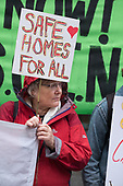 Safe Cladding and Insulation Now protest by Fuel Poverty Action, social housing tenants and leaseholders from Salford and London, MHCLG, London.
