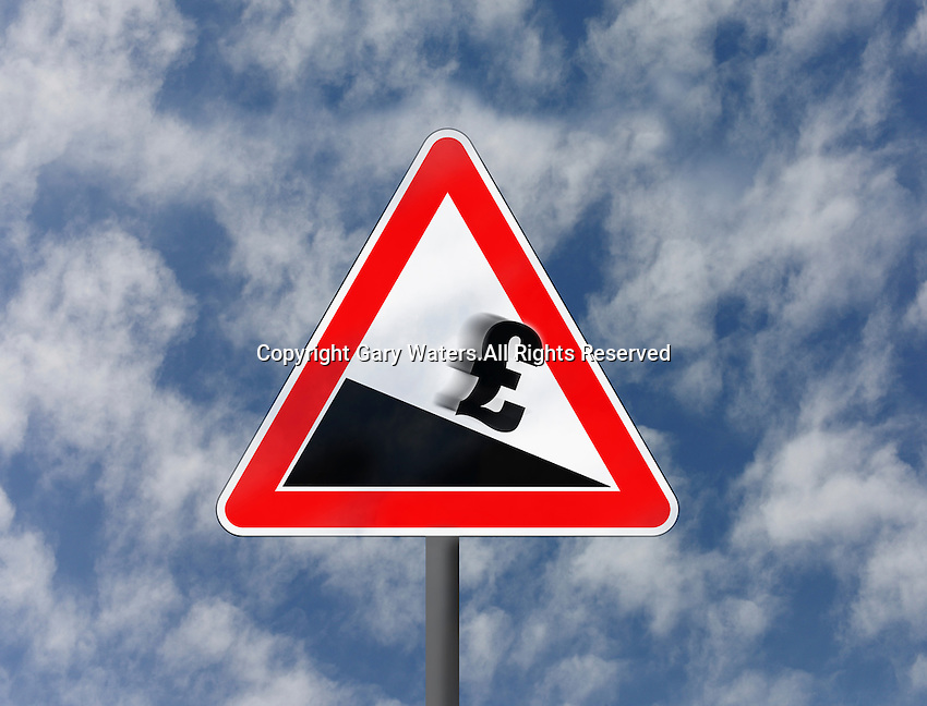 British pound sign sliding downhill on road warning sign