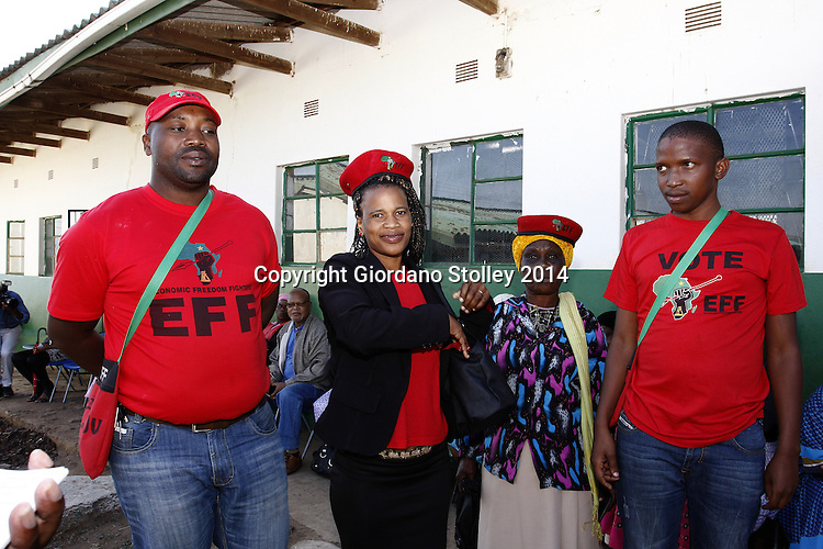 NKANDLA - 7 May 2014 - S'thandiwe Hlongwane (second from left) whose house was built by Economic Freedom Fighters supporters barely 500 metres from President Jacob Zuma's controversial Nkandla residence, stands with fellow Economic Freedom Fighters supporters at Ntolwane Primary School where she had cast her vote. Zuma, himself placed his ballot paper int the very same box about 40 minutes later. From left are Simphiwe Hlabisa, Hlongwane, Thuleleni Ndlovu and Nkululeko Ngubane. Picture: Allied Picture Press/APP