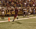 September 21, 2017. Durham, North Carolina.<br /> <br /> NCCU wide receiver Jacen Murphy scores a late game touchdown. <br /> <br /> The NCCU Eagles won a home game against the the South Carolina State Bulldogs 33-28 at O'Kelly–Riddick Stadium.