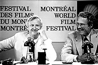 John Boorman, director of Hope and glory (L) speak at a news conference for the (Montreal) World Film Festival on August 21, 1987.<br /> <br /> File Photo : Agence Quebec Presse - Pierre Roussel