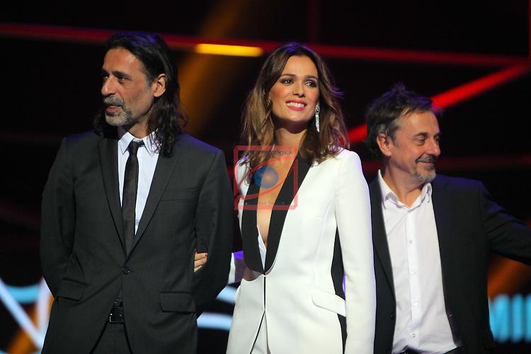 63 Premios Ondas.<br /> Gala de Entrega de los premios.<br /> Nacho Fresneda, Mar Saura &amp; Pere Ponce.