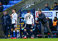 Bolton Wanderers' Phil Parkinson giving orders to Adam Le Fondre from the touchline.<br /> <br /> Photographer Leila Coker/CameraSport<br /> <br /> The EFL Sky Bet Championship - Bolton Wanderers v Fulham - Saturday 10th February 2018 - Macron Stadium - Bolton<br /> <br /> World Copyright &copy; 2018 CameraSport. All rights reserved. 43 Linden Ave. Countesthorpe. Leicester. England. LE8 5PG - Tel: +44 (0) 116 277 4147 - admin@camerasport.com - www.camerasport.com