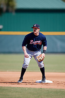 Atlanta Braves Matt Gonzalez (85) during practice before a minor league Spring Training game against the Pittsburgh Pirates on March 13, 2018 at Pirate City in Bradenton, Florida.  (Mike Janes/Four Seam Images)