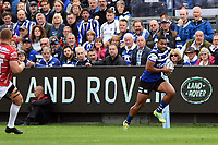 Joe Cokanasiga of Bath Rugby in possession. Gallagher Premiership match, between Bath Rugby and Gloucester Rugby on September 8, 2018 at the Recreation Ground in Bath, England. Photo by: Patrick Khachfe / Onside Images