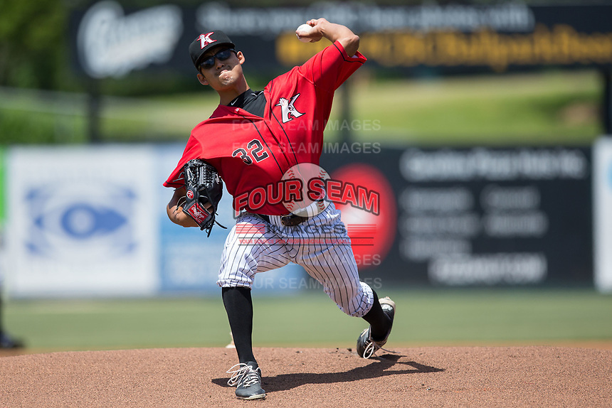 Kannapolis Intimidators starting pitcher Bernardo Flores (32) in action against the Asheville Tourists at Kannapolis Intimidators Stadium on May 7, 2017 in Kannapolis, North Carolina.  The Tourists defeated the Intimidators 4-1.  (Brian Westerholt/Four Seam Images)