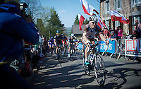 Jan Bakelants (BEL/Ag2r-LaMondiale) up the infamous Mur de Huy (1300m/9.8%)<br /> <br /> 79th Fl&egrave;che Wallonne 2015