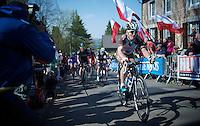 Jan Bakelants (BEL/Ag2r-LaMondiale) up the infamous Mur de Huy (1300m/9.8%)<br /> <br /> 79th Flèche Wallonne 2015
