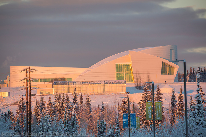 The University of Alaska, UA Museum of the North is lit by December sunlight on the West ridge hill at UAF in Fairbanks, Alaska