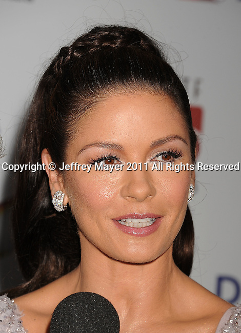 "CULVER CITY, CA - OCTOBER 15: Catherine Zeta-Jones attends the The 6th Annual ""A Fine Romance"" Event at Sony Pictures Studios on October 15, 2011 in Culver City, California."