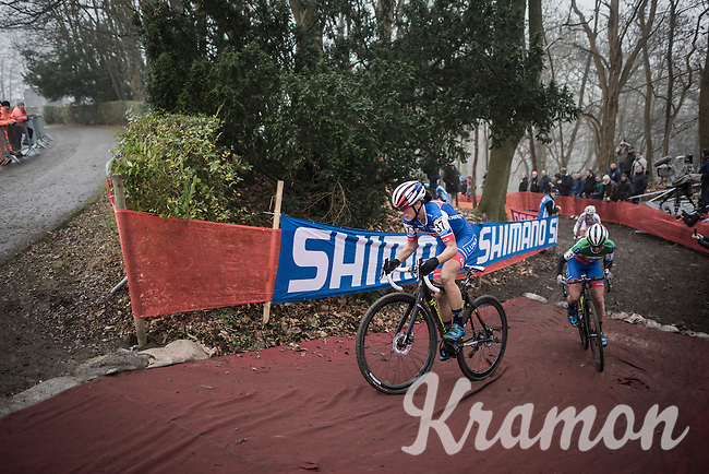 teammates (and later nr's 1&2 on the podium:) Katerina Nash (CZE/Luna) & Eva Lechner (ITA/Luna) at the front of the race<br /> <br />  UCI Cyclocross World Cup Namur/Belgium 2016