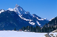 The sheer scale of the Swiss Alps is put into perspective in this wintry landscape