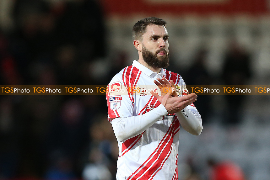 Josh McQuoid of Stevenage celebrates after the match during Stevenage vs Grimsby Town, Sky Bet EFL League 2 Football at the Lamex Stadium on 28th January 2017