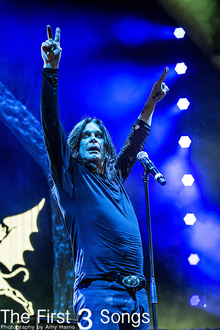 Ozzy Osbourne of Black Sabbath performs at Klipsch Music Center in Indianapolis, Indiana.