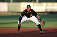 Bradenton Marauders first baseman Edwin Espinal (14) during a game against the Charlotte Stone Crabs on April 22, 2015 at McKechnie Field in Bradenton, Florida.  Bradenton defeated Charlotte 7-6.  (Mike Janes/Four Seam Images)
