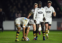 Nizaam Carr of Wasps runs in a first half try. European Rugby Champions Cup match, between Harlequins and Wasps on January 13, 2018 at the Twickenham Stoop in London, England. Photo by: Patrick Khachfe / JMP