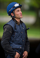Jockey Joel Rosario on the backside at Churchill Downs as Kentucky Derby preparations continue on