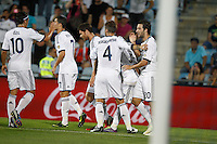 26.08.2012 SPAIN -  La Liga 12/13 Matchday 2th  match played between Getafe C.F. vs Real Madrid CF (0-0) at Alfonso Perez stadium. The picture showplayers of  Real Madrid CF celebrating his team's goal