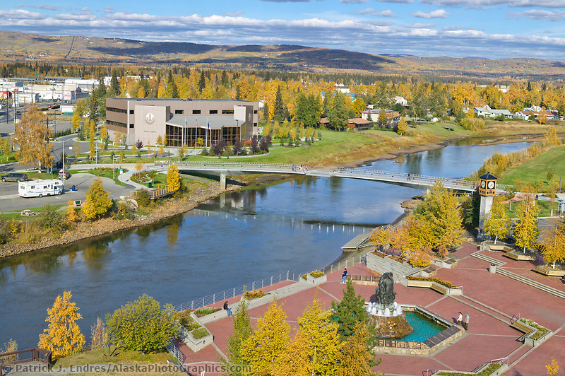 Overview of Chena River, Golden Heart Plaza in downtown Fairbanks, Alaska