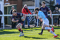 Joe Atkinson of London Scottish scores a try during the Greene King IPA Championship match between London Scottish Football Club and Bedford Blues at Richmond Athletic Ground, Richmond, United Kingdom on 25 March 2017. Photo by David Horn / PRiME Media Images.
