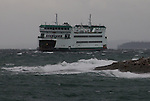 Puget Sound, Washington State Ferry, MV Salish, arriving, Coupeville, winter storm, rough seas, November 24 2016, Admiralty Inlet, Keystone, Salish Sea, Washington State, Pacific Northwest, USA,