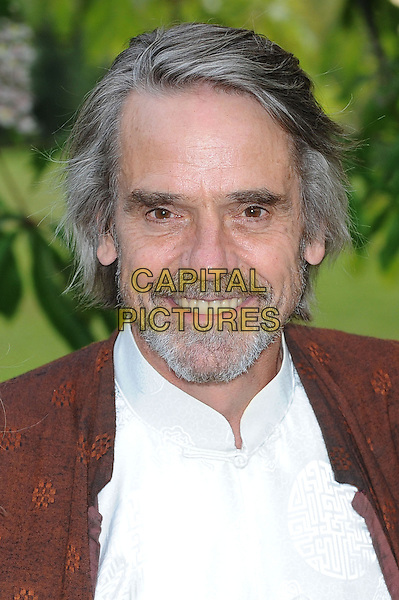 Jeremy Irons <br /> The annual Serpentine Gallery Summer Party, Kensington Gardens, London, England.<br /> 26th June 2013<br /> headshot portrait white shirt brown jacket beard facial hair <br /> CAP/BEL<br /> &copy;Tom Belcher/Capital Pictures