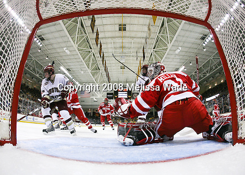 Ben Smith (Boston College - 12), Zach Cohen (Boston University - 11), Brian Strait (Boston University - 7), Jimmy Hayes (Boston College - 10), Kieran Millan (Boston University - 31) - The Boston University Terriers defeated the Boston College Eagles 3-1 at Kelley Rink in Conte Forum in Chestnut Hill, Massachusetts.