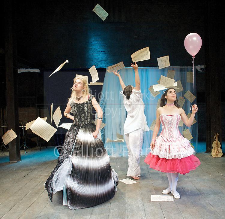 Prima La Musica<br /> Opera At Home Ensemble<br /> at The Arcola Theatre, London, Great Britain <br /> 25th August 2011 <br /> Rehearsal <br /> Grimeborn The Opera Festival<br /> directed by Jose Manuel Gandia<br /> <br /> Leah Cooper (as Zanni 2)<br /> Alexia Mankovskaya (as Eleonora)<br /> Merrin Lazyan (as Tonina)<br /> <br /> <br /> Photograph by Elliott Franks