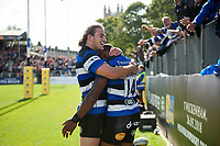 Semesa Rokoduguni of Bath Rugby celebrates his second try with team-mate Max Clark. Aviva Premiership match, between Bath Rugby and Saracens on September 9, 2017 at the Recreation Ground in Bath, England. Photo by: Patrick Khachfe / Onside Images
