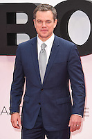 "Matt Damon<br /> arrives for the ""Jason Bourne"" premiere at the Odeon Leicester Square, London.<br /> <br /> <br /> ©Ash Knotek  D3139  11/07/2016"