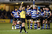 Marcus Watson of Wasps is shown a yellow card by referee Luke Pearce. Aviva Premiership match, between Bath Rugby and Wasps on December 29, 2017 at the Recreation Ground in Bath, England. Photo by: Patrick Khachfe / Onside Images