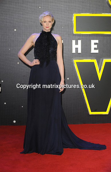 NON EXCLUSIVE PICTURE: PAUL TREADWAY / MATRIXPICTURES.CO.UK<br /> PLEASE CREDIT ALL USES<br /> <br /> WORLD RIGHTS<br /> <br /> English actress Gwendoline Christie attending the European Premiere of Star Wars: The Force Awakens in Leicester Square, London.<br /> <br /> DECEMBER 16th 2015<br /> <br /> REF: PTY 153700