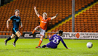Blackpool's Mark Cullen shoots wide, past the onrushing Jonathan Bond<br /> <br /> Photographer Alex Dodd/CameraSport<br /> <br /> The EFL Checkatrade Trophy Northern Group C - Blackpool v West Bromwich Albion U21 - Tuesday 9th October 2018 - Bloomfield Road - Blackpool<br />  <br /> World Copyright &copy; 2018 CameraSport. All rights reserved. 43 Linden Ave. Countesthorpe. Leicester. England. LE8 5PG - Tel: +44 (0) 116 277 4147 - admin@camerasport.com - www.camerasport.com