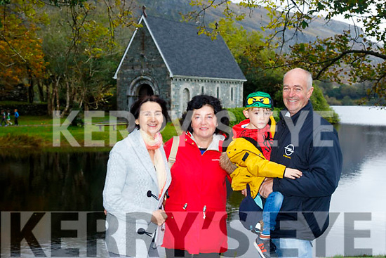 L-R Catherine O'Halloran, Kay Foley with Conor&Gerard McCarthy all Tralee at the Lunch halt at Gougane Barra last Saturday during the KVV&CCC Autumn run based at the Kenmare Bay hotel.