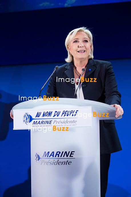 Marine Le Pen  pr&eacute;sente son discours devant la presse ainsi que devant  des militants invit&eacute;s, &agrave; la salle Fran&ccedil;ois Mitterrand &agrave; H&eacute;nin-Beaumont,  lors du premier tour de la pr&eacute;sidentielle.<br /> France, H&eacute;nin-Beaumont, 23 avril 2017.<br /> Marine Le Pen, the president of the far-right Front National party delivers her speech  in H&eacute;nin-Beaumont, during the first round of the 2017 French presidential election.<br /> France, H&eacute;nin-Beaumont, 23 april 2017.