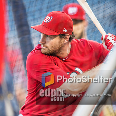 13 October 2016: Washington Nationals infielder Daniel Murphy takes batting practice prior to Game 5 of the NLDS against the Los Angeles Dodgers at Nationals Park in Washington, DC. The Dodgers edged out the Nationals 4-3, to take Game 5 of the Series, 3 games to 2, and move on to the National League Championship Series against the Chicago Cubs. Mandatory Credit: Ed Wolfstein Photo *** RAW (NEF) Image File Available ***