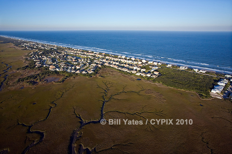 North Vilano Beach A1A South Ponte Vedra Blvd on the Atlantic Ocean with marshes of the Intercoastal Waterway to the west helicopter aerial
